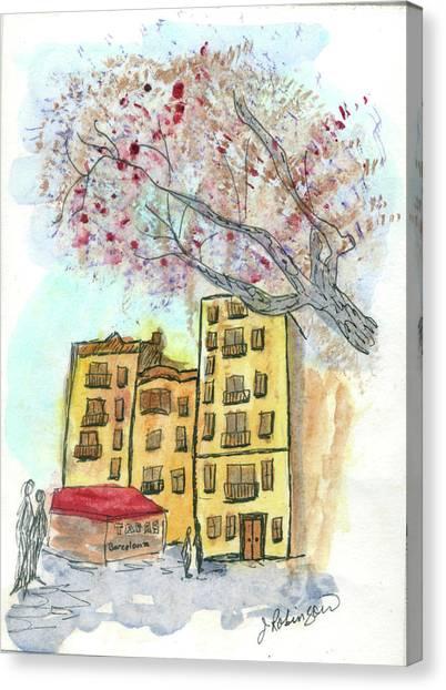 Urban Sketch In Barcelona Canvas Print