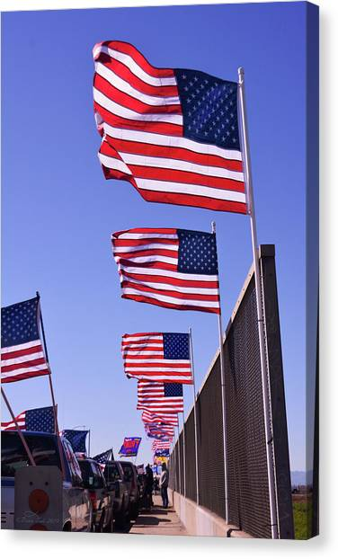 U.s. Flags, Presidents Day, Central Valley, California Canvas Print