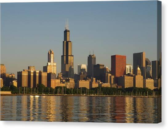 Usa, Illinois, Chicago, City Skyline At Canvas Print