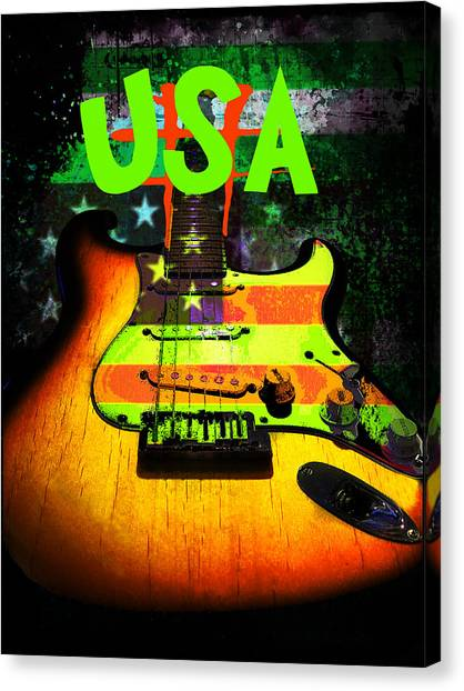 Usa Strat Guitar Music Green Theme Canvas Print