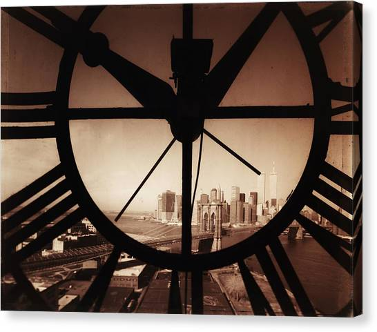Usa,new York City, Brooklyn Bridge And Canvas Print