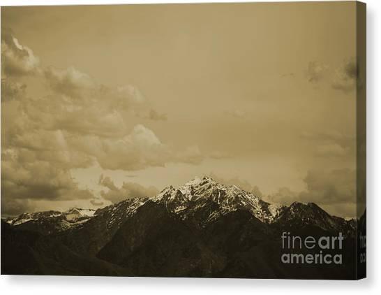 Utah Mountain In Sepia Canvas Print