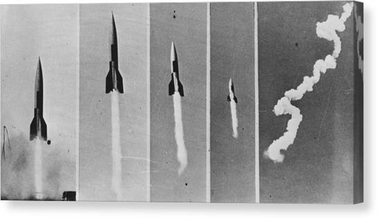 V-2 Bomb In Flight Canvas Print by Keystone