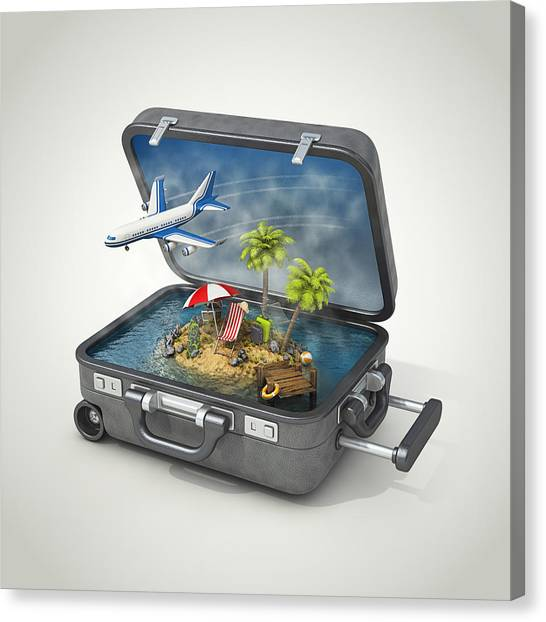 Vacation Island In Suitcase Canvas Print by Pagadesign