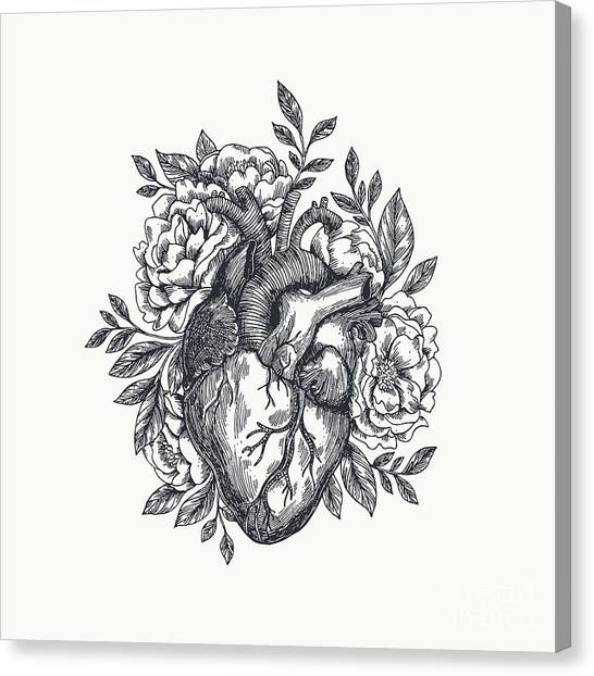 Engraving Canvas Print - Valentines Day Card. Anatomical Heart by Adehoidar