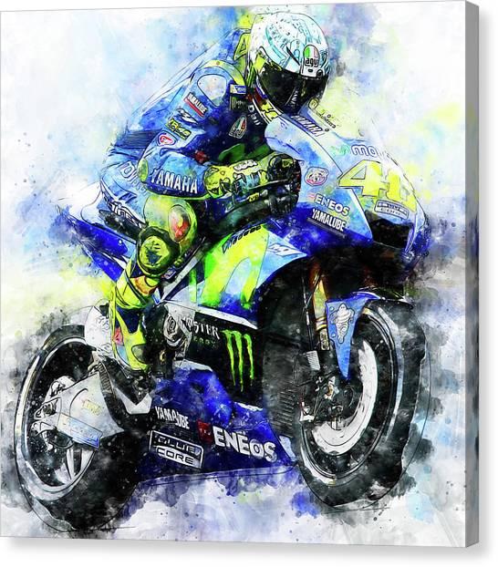 Valentino Rossi - 18 Canvas Print by Andrea Mazzocchetti