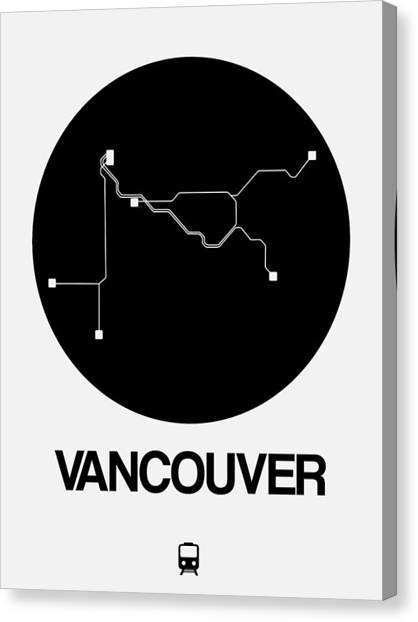 Vancouver Canvas Print - Vancouver Black Subway Map by Naxart Studio