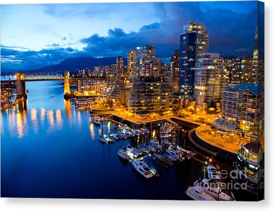 View Canvas Print - Vancouver Night View by Abesan