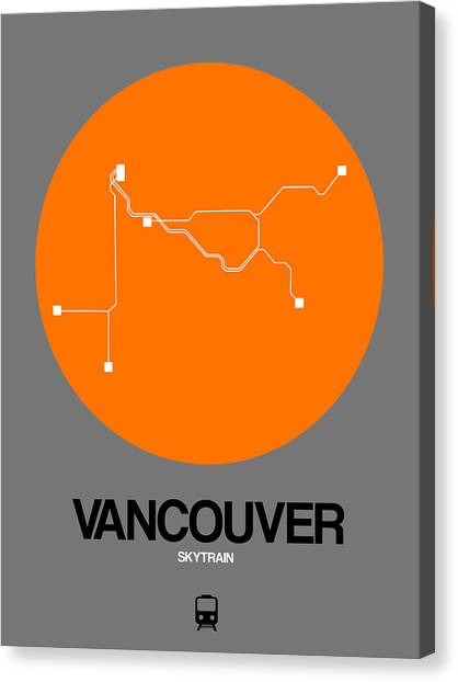 Vancouver Canvas Print - Vancouver Orange Subway Map by Naxart Studio