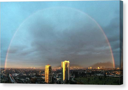 Canvas Print featuring the photograph Vancouver Rainbow by Juan Contreras