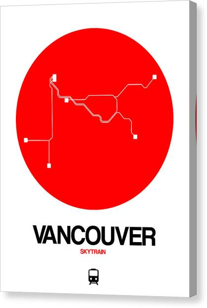 Vancouver Canvas Print - Vancouver Red Subway Map by Naxart Studio