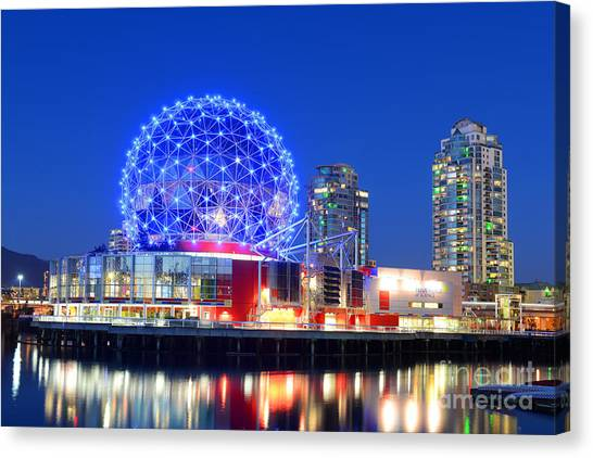 Vancouver Canvas Print - Vancouver Science World At Night by Wangkun Jia