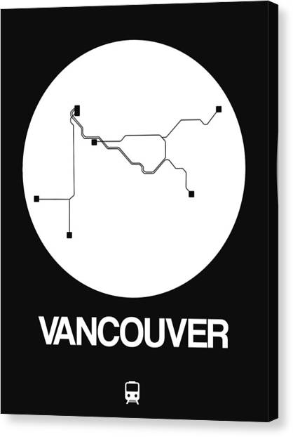 Vancouver Canvas Print - Vancouver White Subway Map by Naxart Studio
