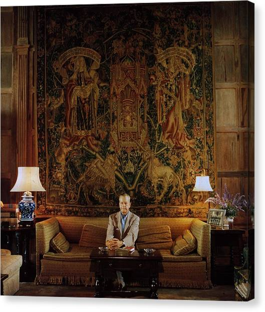 Vanderbilt At Home Canvas Print by Slim Aarons