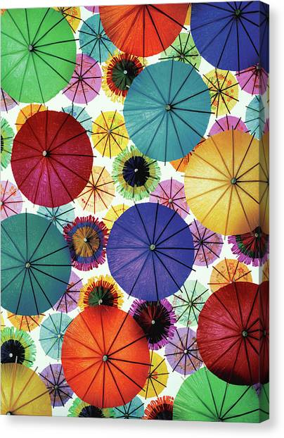 Various Coloured Cocktail Umbrellas Canvas Print