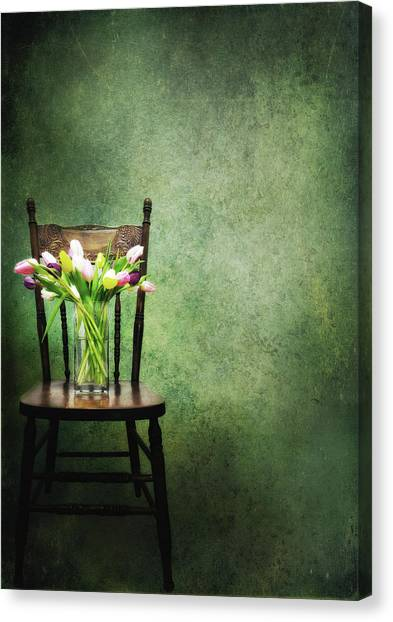 Vase Of Flowers Canvas Print - Vase Of Tulips On Old Chair by Marlene Ford
