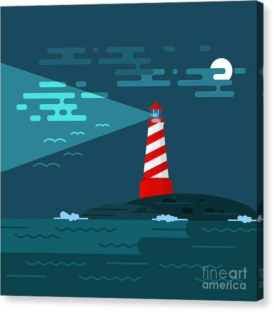 Cliffs Canvas Print - Vector Background With Lighthouse, Sea by Curiosity