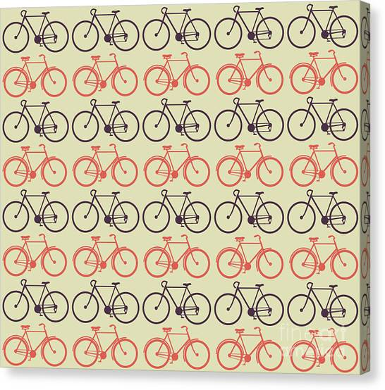 Exercising Canvas Print - Vector Bicycle Pattern by Vectorbaba