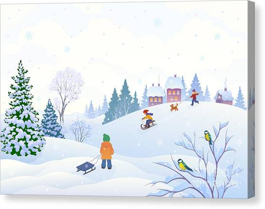 Winter Fun Canvas Print - Vector Cartoon Illustration Of A Winter by Merggy