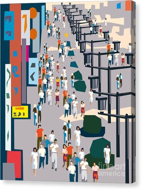 Mall Canvas Print - Vector City Street by Kotss