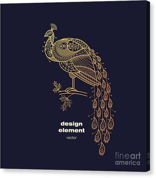 Logo Canvas Print - Vector Design Element - Peacock. Icon by Mamita