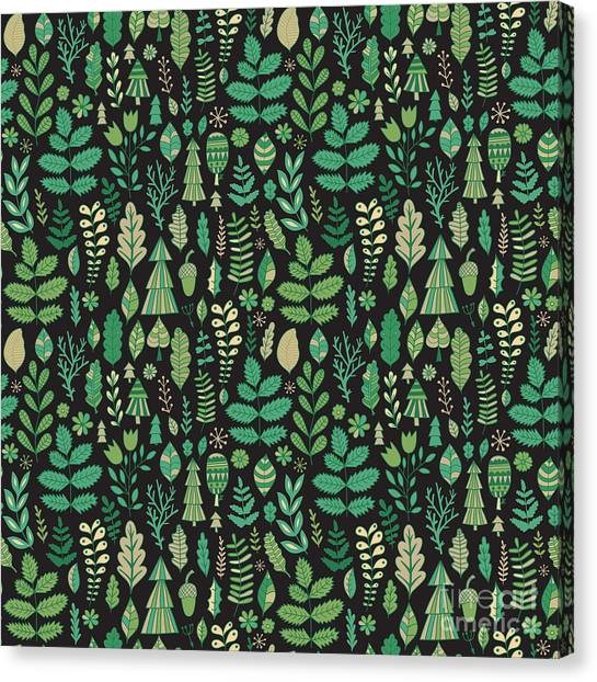 Woodland Canvas Print - Vector Forest Design, Floral Seamless by Markovka