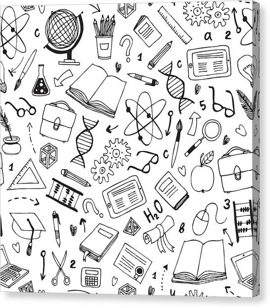 Science Education Canvas Print - Vector Hand Drawn Seamless Pattern With by Dariaroozen