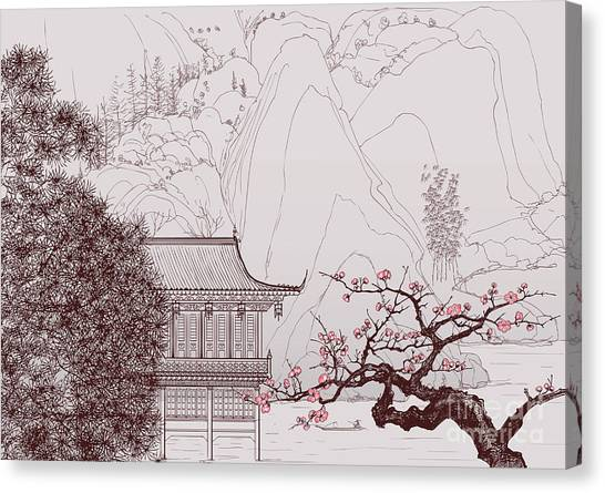 Cherry Blossom Canvas Print - Vector Illustration Of A Chinese by Isaxar