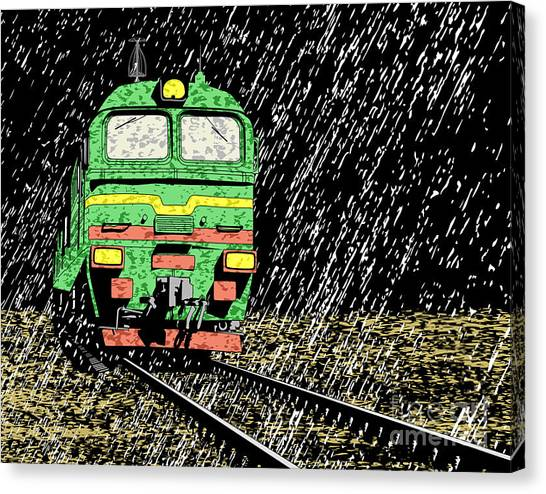 Freight Canvas Print - Vector Illustration Of A Russian Train by Robert Adrian Hillman