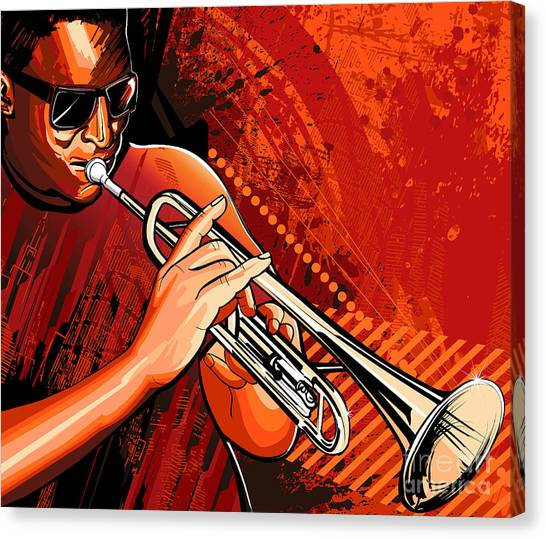 Brass Canvas Print - Vector Illustration Of A Trumpet Player by Isaxar