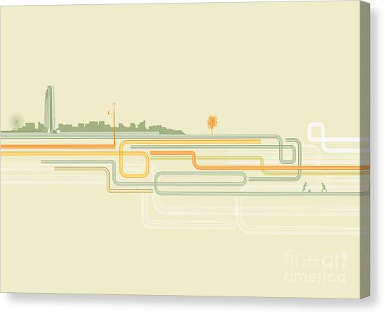 Urban Life Canvas Print - Vector Illustration Of Color Lines With by Pixel Embargo