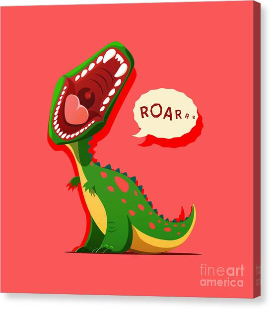 Happy Canvas Print - Vector Illustration Of Dinosaur Is by Maxicam