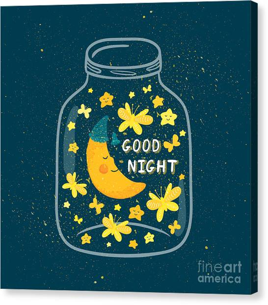 Yellow Butterfly Canvas Print - Vector Illustration Of Jar With Sleepig by Beskova Ekaterina