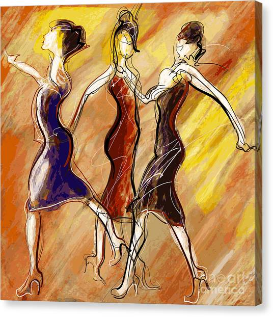 Performing Canvas Print - Vector Illustration Of Women Dancing by Isaxar