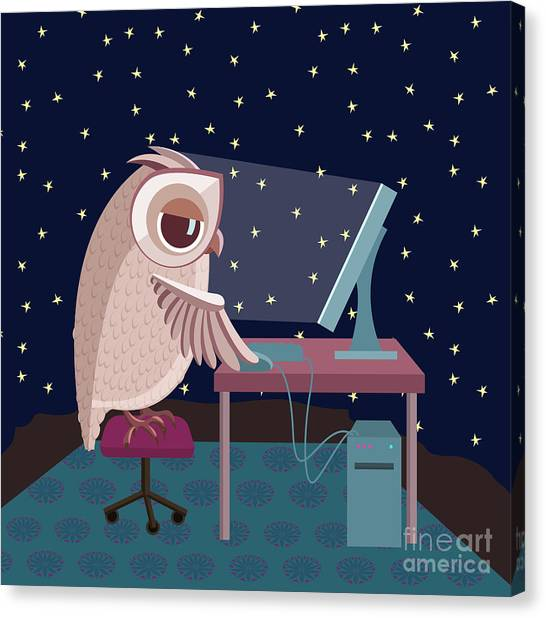 Student Canvas Print - Vector Illustration. Owl Working On The by Satika
