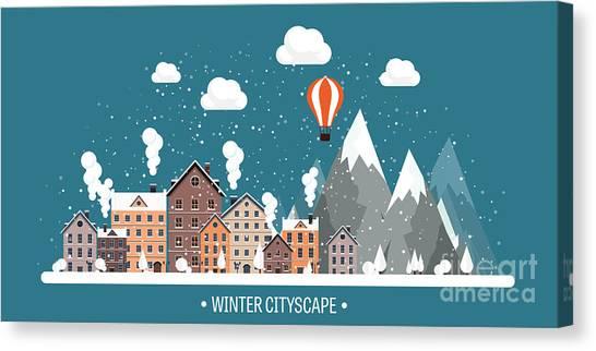 Vector Illustration. Winter Urban Canvas Print by 32 Pixels