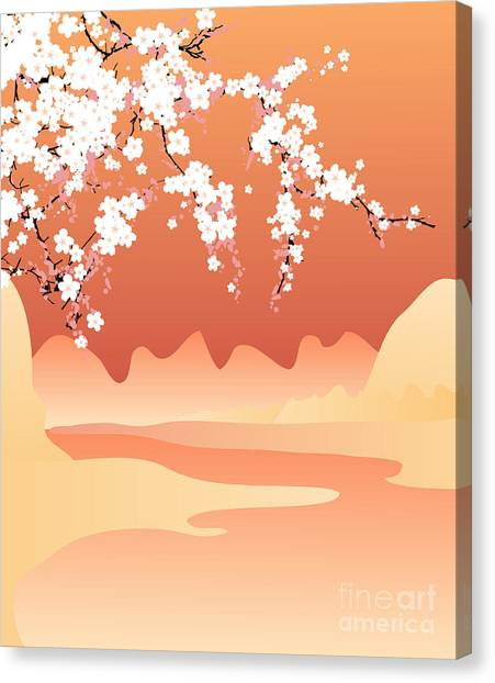 Cherry Blossom Canvas Print - Vector Japan Background by Buketgvozdey