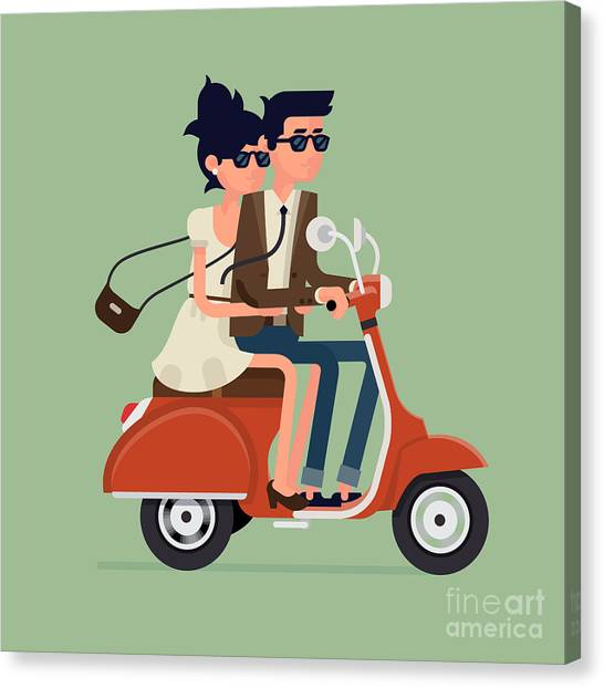 Urban Life Canvas Print - Vector Modern Icon On Hipster Young Man by Mascha Tace