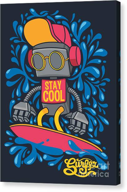 Flash Canvas Print - Vector Retro Robot On Surfboard, Surfer by Braingraph