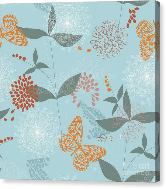 Grey Background Canvas Print - Vector Seamless Pattern Of Flowers by Kitigan