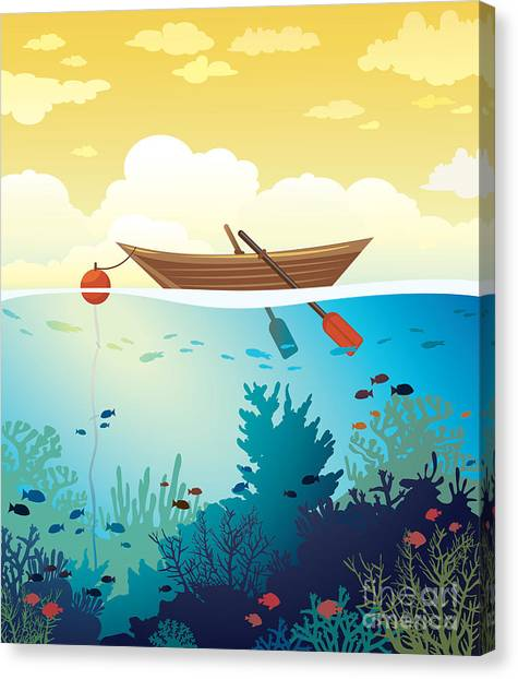 Sea Life Canvas Print - Vector Seascape - Wooden Boat On A by Natali Snailcat