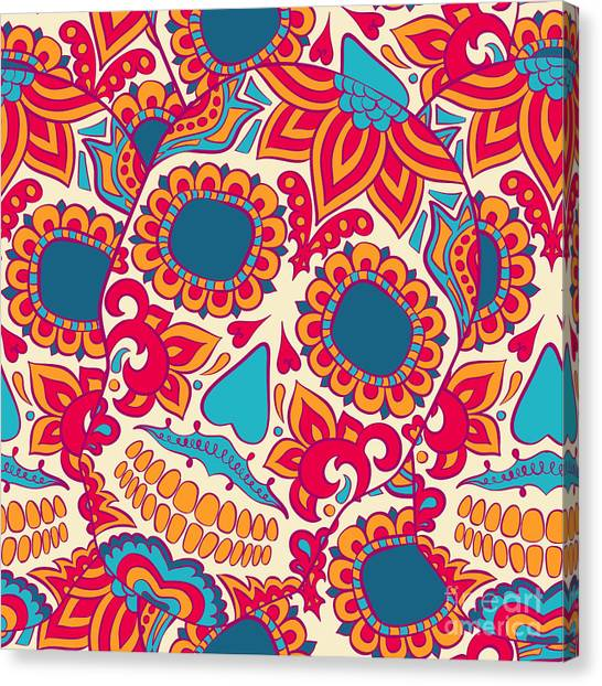 Mexico Canvas Print - Vector Skull Seamless Pattern by Lunarus