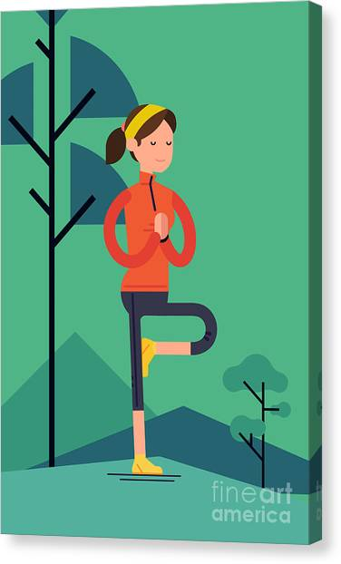 Meditate Canvas Print - Vector Sport Young Woman Character by Mascha Tace