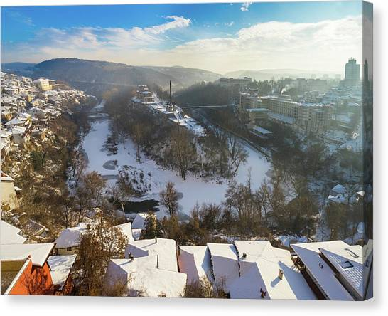 Canvas Print featuring the photograph Veliko Turnovo City by Milan Ljubisavljevic