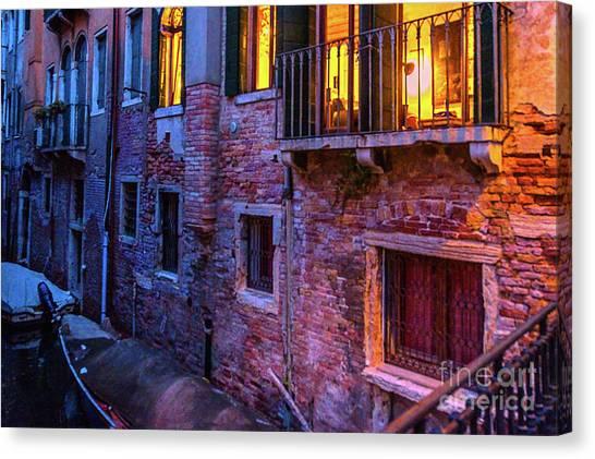 Venice Windows At Night Canvas Print