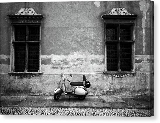 Vespa Piaggio. Black And White Canvas Print