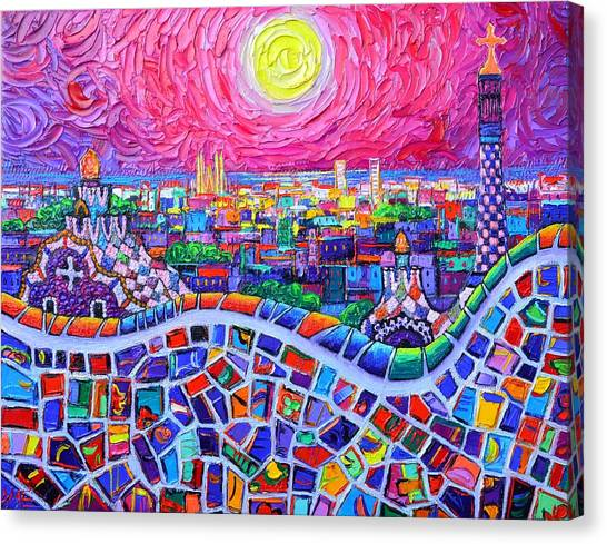 Vibrant Barcelona Night View From Park Guell Modern Impressionism Knife Painting Ana Maria Edulescu Canvas Print