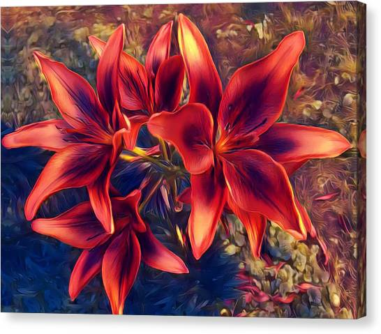 Vibrant Red Lilies Canvas Print