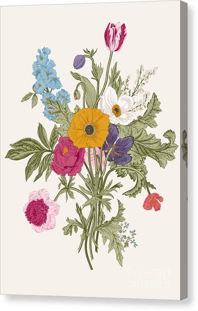 Victorian Garden Canvas Print - Victorian Bouquet. Spring Flowers by Olga Korneeva
