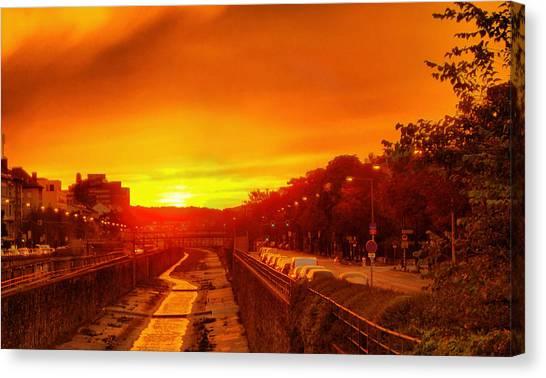 Vienna Bathed In Orange Sunset Light Canvas Print